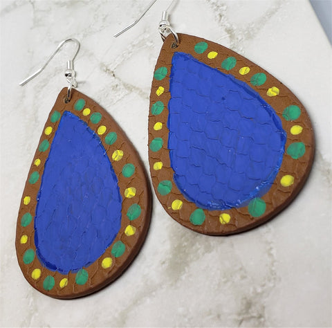 Hand Painted FAUX Leather Teardrop Shaped Earrings with Aboriginal Style Dot Art Border