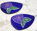 Hand Painted Violet on Purple Metallic FAUX Leather Teardrop Shaped Earrings