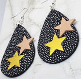 Black Spotted with Gray Tear Drop Shaped FAUX Leather Earrings with Star Embellishments
