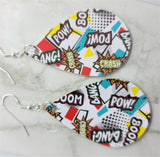 Comic Book Action Expression Tear Drop Shaped FAUX Leather Earrings