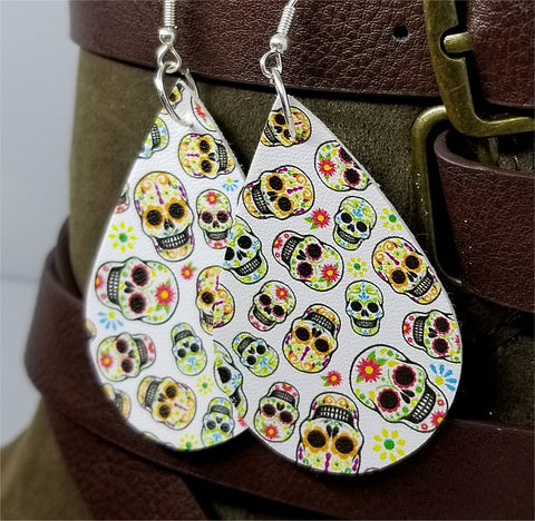 Sugar Skull FAUX Leather Earrings with Surgical Steel Earwires