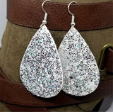 Chunky Silver Glitter Very Sparkly Double Sided FAUX Leather Teardrop Earrings