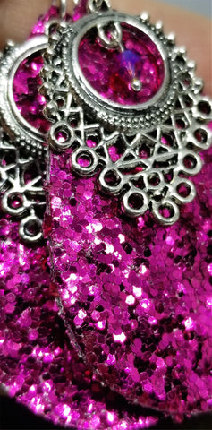 Chunky Fuchsia Glitter Very Sparkly Double Sided FAUX Leather Teardrop Earrings with Chandelier Charm and Fuchsia Swarovski Crystal Overlays