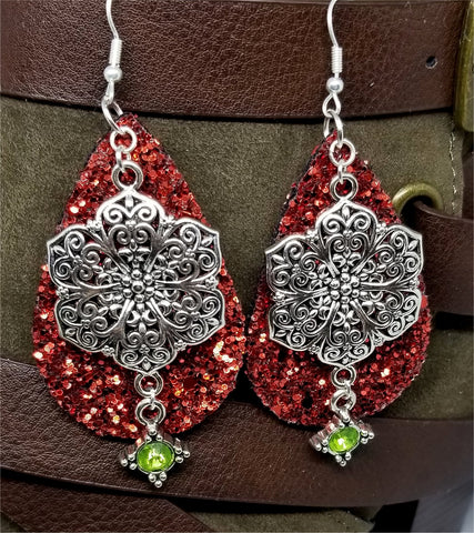 Chunky Red Glitter Very Sparkly Double Sided FAUX Leather Teardrop Earrings with Large Silver and Green Crystal Charm Overlays