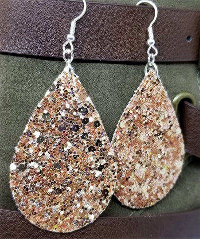 Chunky Rose Gold Glitter Very Sparkly FAUX Leather Teardrop Earrings