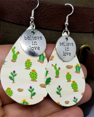 Cactus Tear Drop Shaped FAUX Leather Earrings with Believe in Love Charms