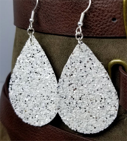 Chunky Silver and White Glitter Very Sparkly FAUX Leather Teardrop Earrings