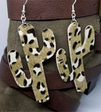 Large Cactus Shaped Metallic Leopard Print Cork Earrings
