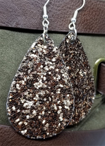 Brown Glitter Very Sparkly Double Sided FAUX Leather Teardrop Earrings