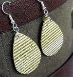 Gold Glitter and White Striped Double Sided FAUX Leather Teardrop Earrings