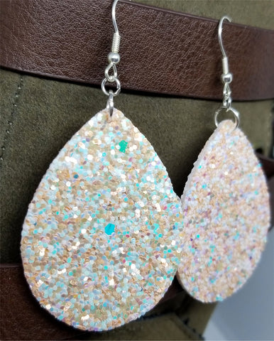 Pastel Orange and Blue Very Sparkly Double Sided FAUX Leather Teardrop Earrings