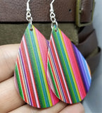MultiColored Vertical Stripes FAUX Leather Earrings with Surgical Steel Earwires