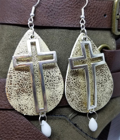 Worn Gold Faux Leather Earrings with Silver Cross and White Alabaster Briolette Crystal Dangles