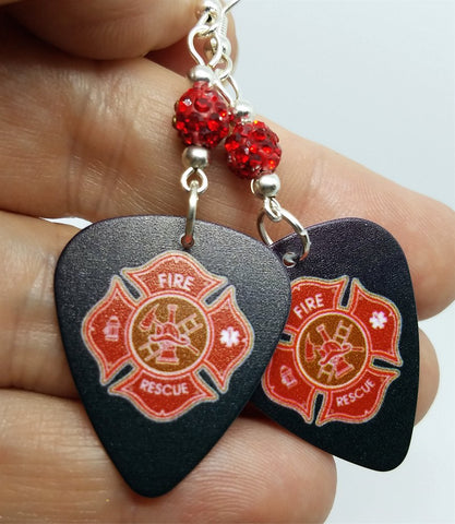 Fire Department Shield Charm Guitar Pick Earrings with Red Pave Beads