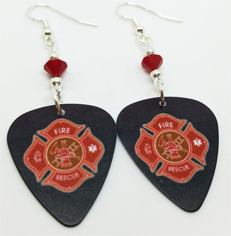 Fire Department Shield Charm Guitar Pick Earrings with Red Swarovski Crystals