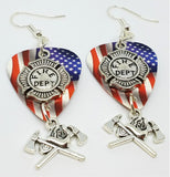 Fire Department Shield and Crossed Aces on an American Flag Guitar Pick Earrings
