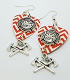 Fire Department Shield and Crossed Aces on a Chevron Guitar Pick Earrings
