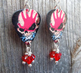 Five Finger Death Punch Guitar Pick Earrings with Red Crystal Dangles