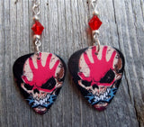 Five Finger Death Punch Skull Guitar Pick Earrings with Red Swarovski Crystals