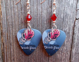 Five Finger Death Punch Guitar Pick Earrings with Red Swarovski Crystals
