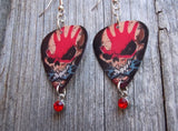Five Finger Death Punch Guitar Pick Earrings with Red Crystal Charm Dangles