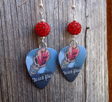 Five Finger Death Punch Guitar Pick Earrings with Red Pave Beads