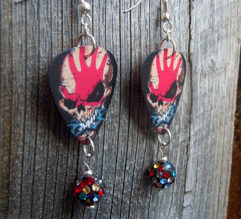 Five Finger Death Punch Guitar Pick Earrings with MultiColor Pave Bead Dangles