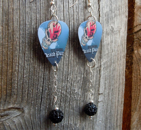 Five Finger Death Punch Guitar Pick Earrings with Black Pave Bead Dangles