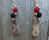 Five Finger Death Punch Logo Guitar Pick Earrings with Pave and Charm Dangles