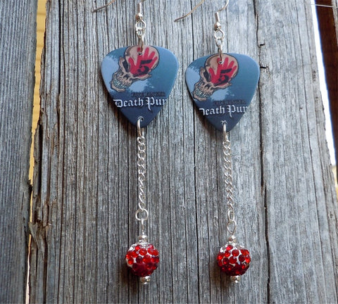 Five Finger Death Punch Guitar Pick Earrings with Red Ombre Pave Beads