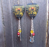 Five Finger Death Punch War is the Answer Guitar Pick Earrings with Charm and Swarovski Crystal Dangles