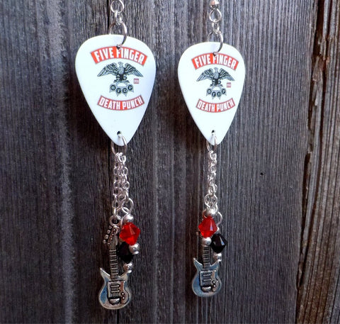 Five Finger Death Punch Under and Over It Guitar Pick Earrings with Charm and Swarovski Crystal Dangles