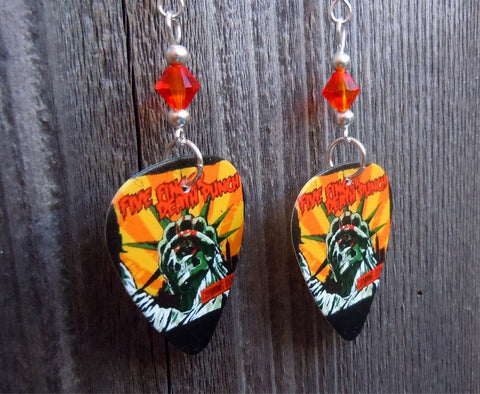 Five Finger Death Punch Coming Down Guitar Pick Earrings with Orange Crystals