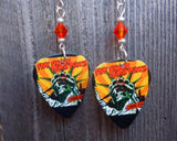 Five Finger Death Punch Coming Down Guitar Pick Earrings with Orange Swarovski Crystals
