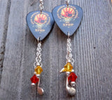 Five Finger Death Punch The Way of The Fist Guitar Pick Earrings with Charm and Swarovski Crystal Dangles