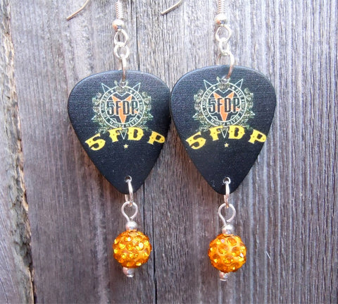 Five Finger Death Punch Guitar Pick Earrings with Orange Pave Beads