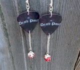 Five Finger Death Punch Logo Guitar Pick Earrings with Red Ombre Pave Bead Dangles