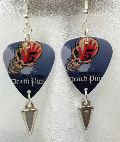 Five Finger Death Punch Guitar Pick Earrings with Silver Spike Dangles