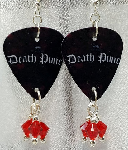 Five Finger Death Punch Logo Guitar Pick Earrings with Red Swarovski Crystal Dangles
