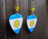 Argentinian Flag Guitar Pick Earrings with Yellow Opal Swarovski Crystals
