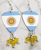 Argentinian Flag Guitar Pick Earrings with Yellow Swarovski Crystal Dangles