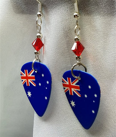 Australian Flag Guitar Pick Earrings with Red Swarovski Crystals
