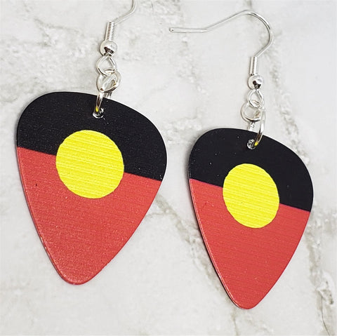 Australian Aboriginal Flag Guitar Pick Earrings