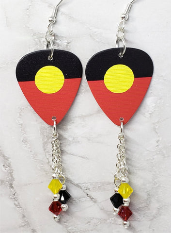 Australian Aboriginal Flag Guitar Pick Earrings with Swarovski Crystal Dangles