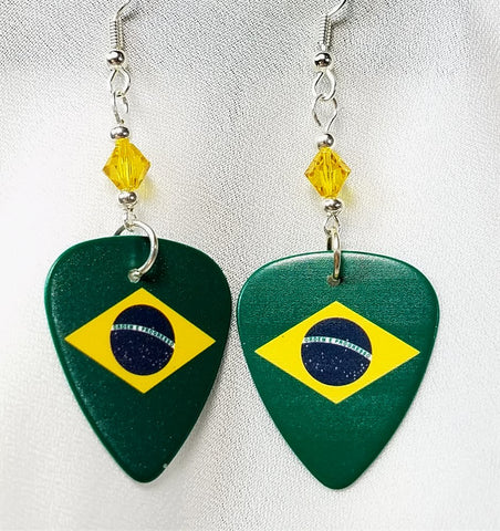 Brazilian Flag Guitar Pick Earrings with Golden Yellow Swarovski Crystals