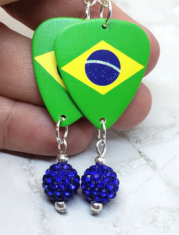 Brazilian Flag Guitar Pick Earrings with Blue Pave Bead Dangles