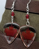 Canadian Flag Transparent Guitar Pick Earrings with Red Swarovski Crystals