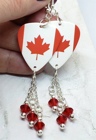 Canadian Flag Guitar Pick Earrings with Red Swarovski Crystal Dangles