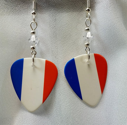 French Flag Guitar Pick Earrings with Clear Swarovski Crystals