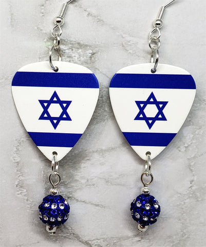 Israeli Flag Guitar Pick Earrings with Blue and White Striped Pave Bead Dangles